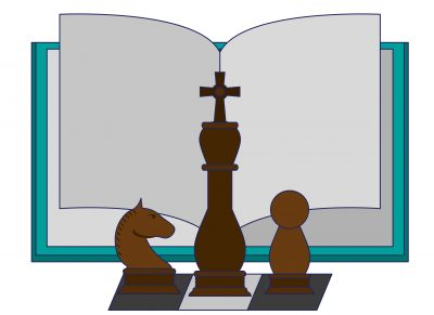 Book open with chess pieces cartoon vector illustration graphic design